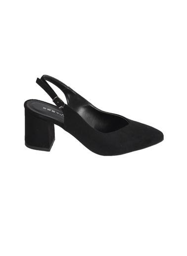 Esstii 304 Vizon Süet Kadın Topuklu Ayakkabı Siyah